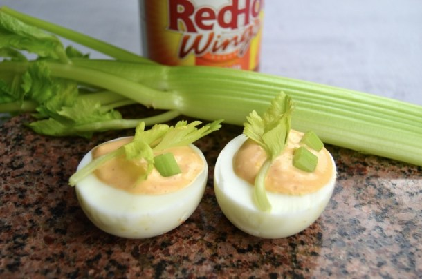 buffalo hot sauce deviled eggs celery