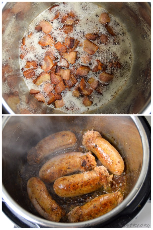 Bacon and sausage cooking