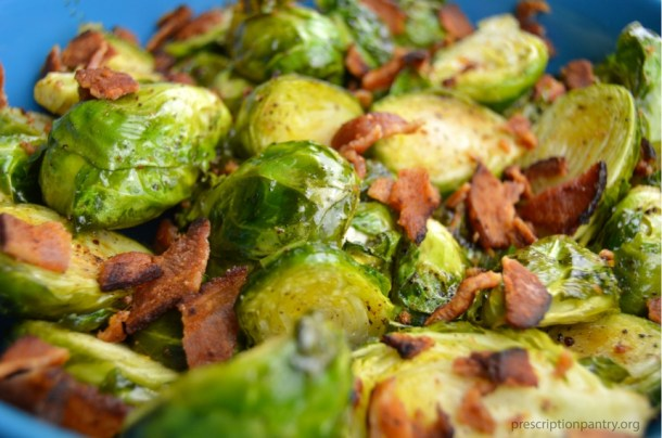 roasted Brussel sprouts and bacon closeup