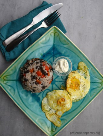 Black beans rice eggs sour cream