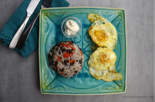 rice black beans eggs breakfast