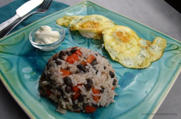 Gallo pinto eggs sour cream