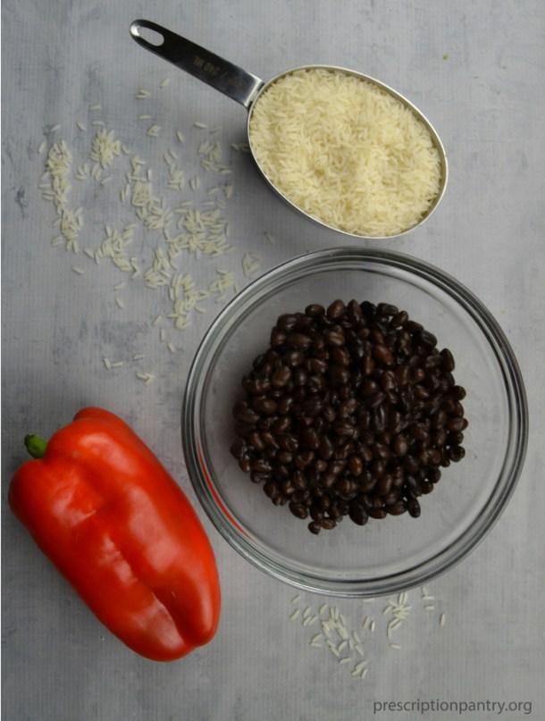 rice black beans red bell pepper
