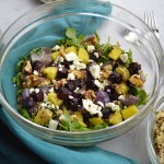 roasted beet salad bowl fork
