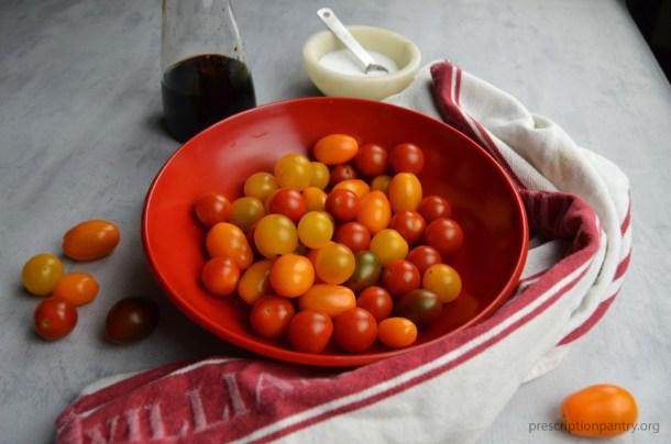 cherry tomatoes bowl balsamic salt