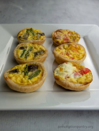 6 mini quiche on plate