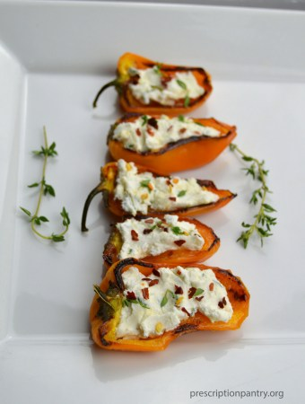 blistered mini sweet peppers goat cheese thyme honey