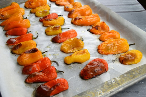 blistered mini sweet peppers sheet pan