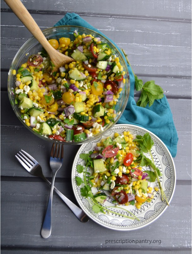 corn salad bowl plate fork spoon