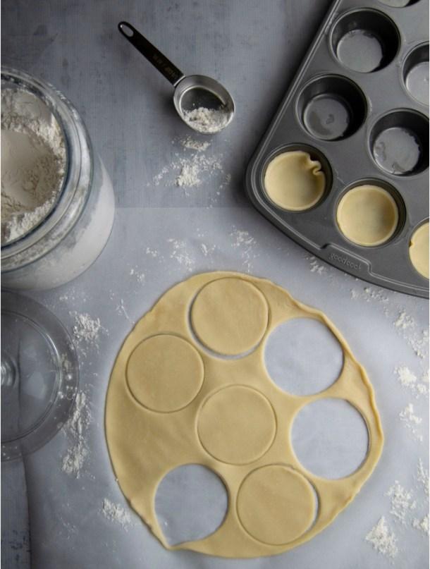 quiche crust raw flour muffin pan tin