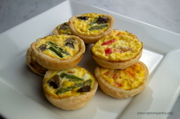 mini quiche stacked plate