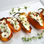 blistered mini sweet peppers stuffed goat cheese thyme