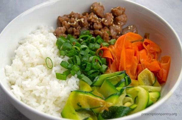 rice green onions carrots zucchini