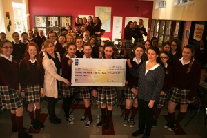 Teacher Eithne O'Loughlin and our First Year Students presenting the cheque for an incredible €1,205.49 to Eileen Joyce from MS Ireland