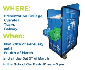 The WEEE Recycling cages that will be outside the school for the week between Mon 29th of February until Fri 4th of March from 9am – 3.45pm and on Saturday 5th of March from 10 am – 4 pm.