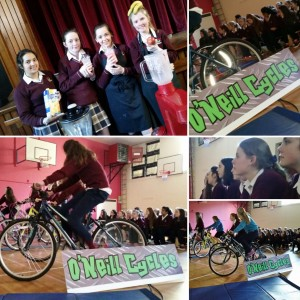 The Girls enjoying their smoothies & cycling to power the burn Calories Not Carbon presentation for the Green Schools Energy Day