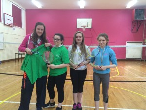 The runners up in the First & Second Year Badminton Doubles Tournament with Dunmore