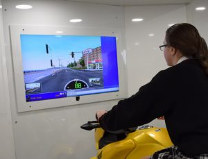 The road safety related car & motorbike simulator which was very popular with all of the students & staff