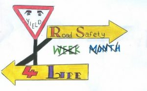 Some of the thought provoking posters, which were produced by the Transition Years for the Road Safety Week in the school