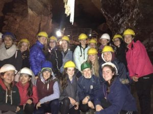 The students during their tour of Doolin cave with the Great Stalactite in the background.