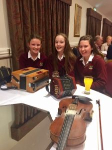"Members of the school Trad Group enjoying the ""Concert of Champions"" as part of Tuam Trad Festival."