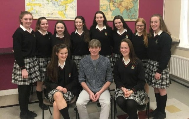 "The Transition Year students were delighted to meet and perform ""Isle of Hope, Isle of Tears"" with Seán Keane."