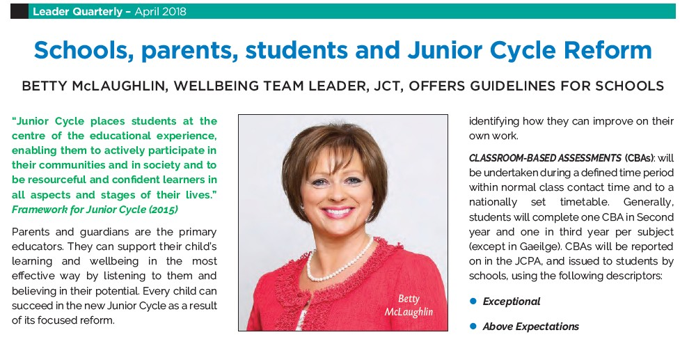 BETTY McLAUGHLIN, WELLBEING TEAM LEADER, JCT, OFFERS GUIDELINES FOR SCHOOLS