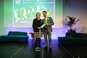Ruairí de Búrca of Irish Aid presented the Global Passport Award to Alice Kelly from Presentation College, Tuam who explored gender equality & the empowerment of women.