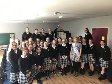 Nicole Loughlin, Mayo Rose 2019, visited TY students to discuss the progress of her 'Let's make it happen' school building project.