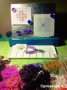"""""""This is pretty organized for me right now,"""" said Preston with a laugh, regarding the milieu of beads on her work table."""