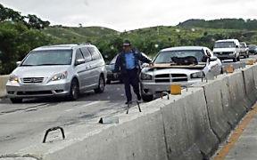 Un policía rescató a un perro en plena autopista, lo que provocó cierta congestión vehicular mientras el agente realizaba la operación de rescate. (Foto/CyberNews)