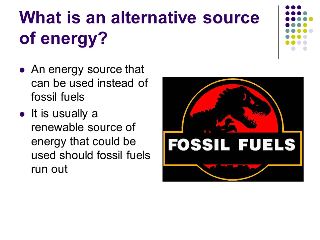 Alternative Sources Of Energy Lesson Objective By The