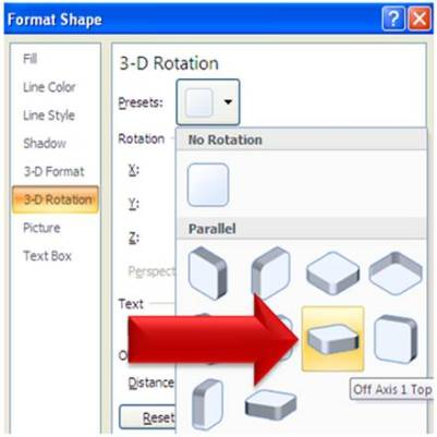 3D Rotation option in PowerPoint