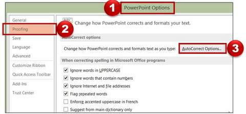PowerPoint Autocorrect Menu