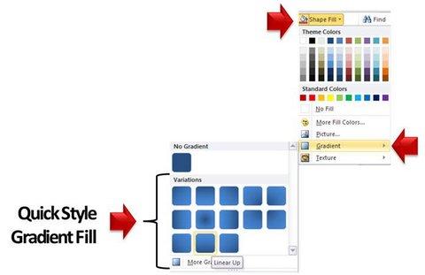 Quick style gradients menu