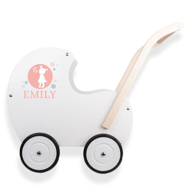 Trä barnvagn med namn Image