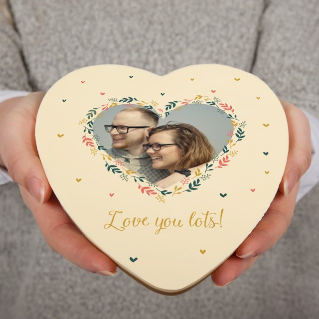 Chokladhjärta med foto och text Image