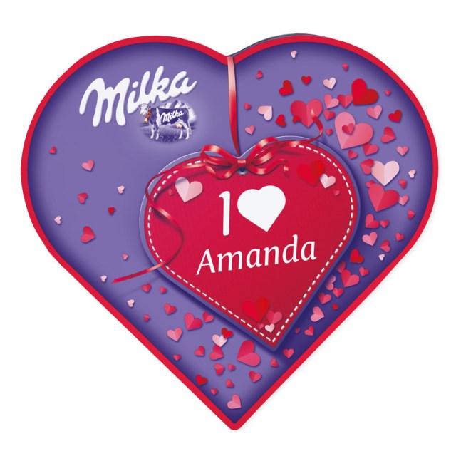 Milka hjärta personaliserat med namn och foto Image