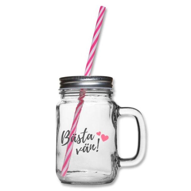 Glas med handtag och skruvlock - Bästa vän Image