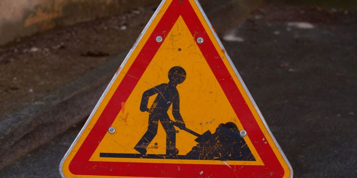 Roadwork Sign Of Worker Making A Strong Point