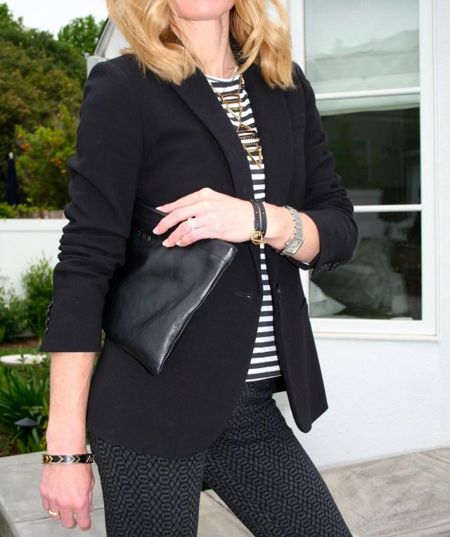 black blazer striped top
