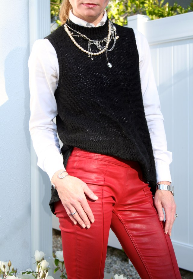 black vest white shirt red pants