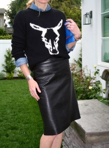 bull sweater and leather skirt