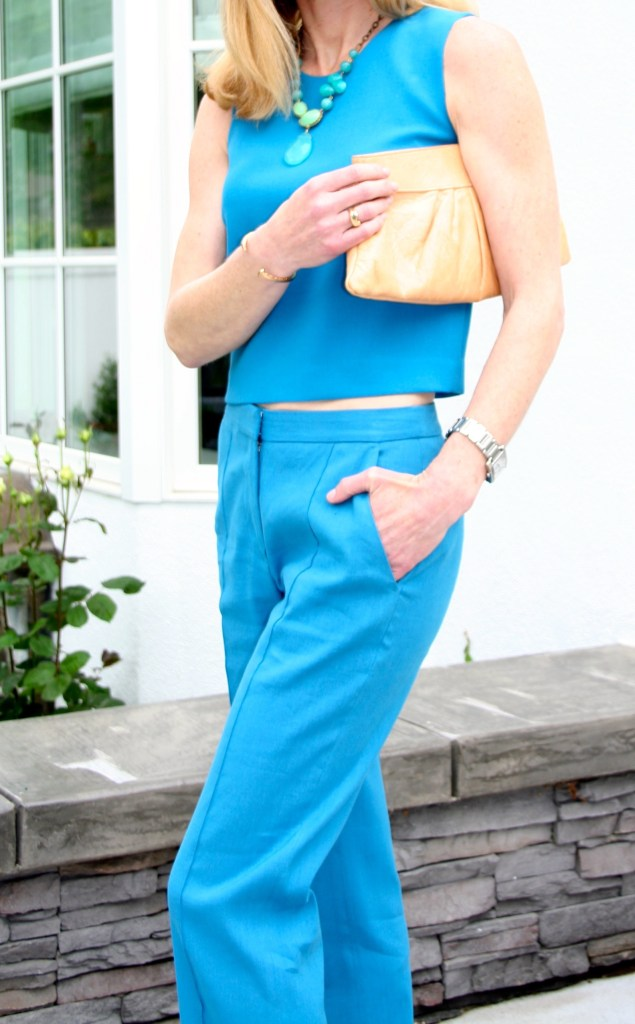 turquoise top and pants