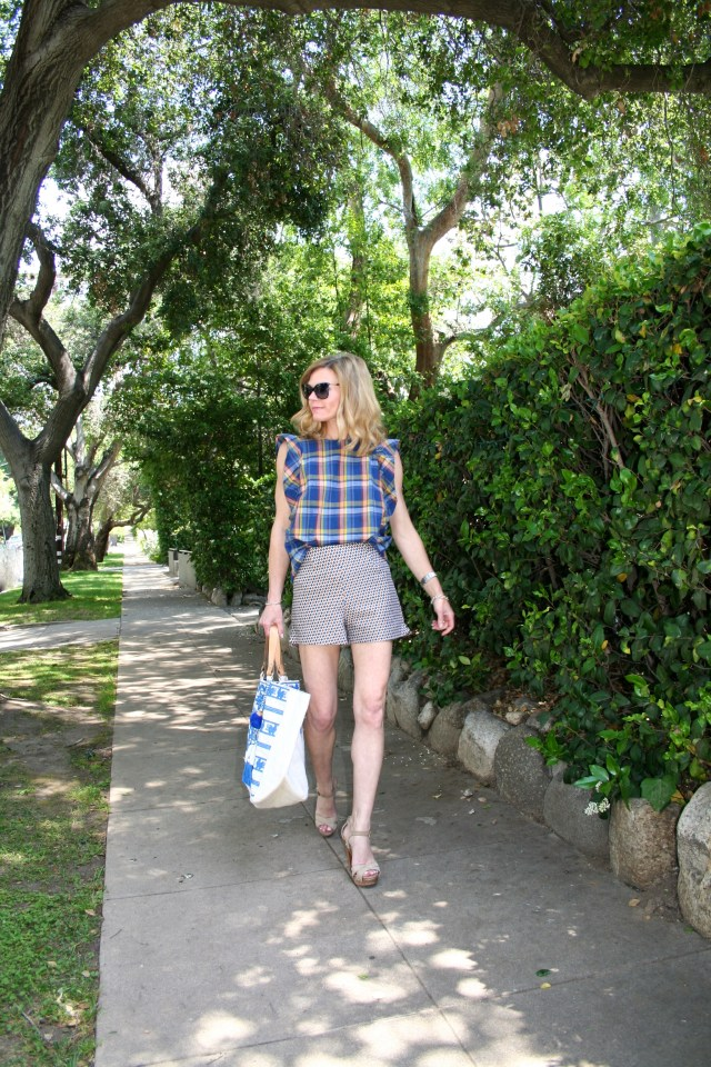 plaid top and shorts