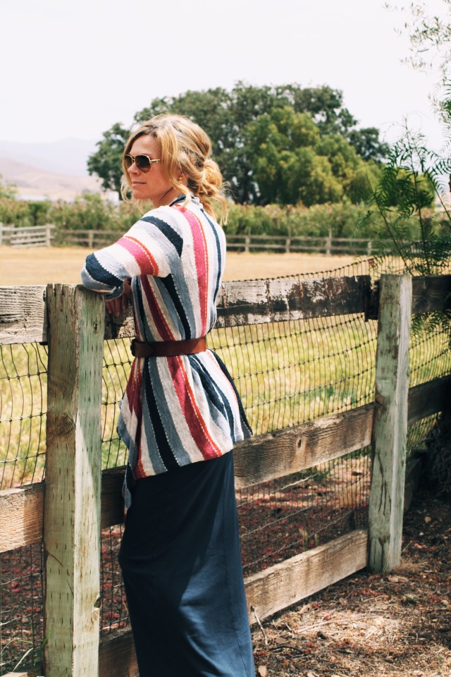 striped cardigan and maxi dress