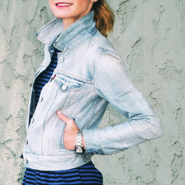 striped dress with denim jacket