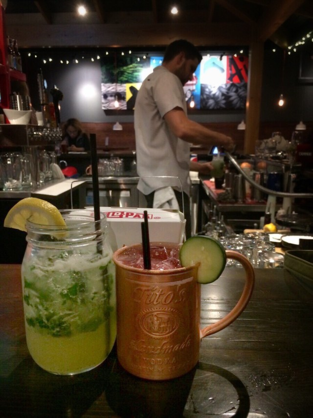 A happy trio: a Ha Long Cooler, Aji Mule and leftover ramen
