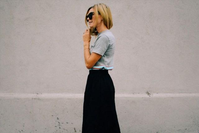 black circle skirt and tee