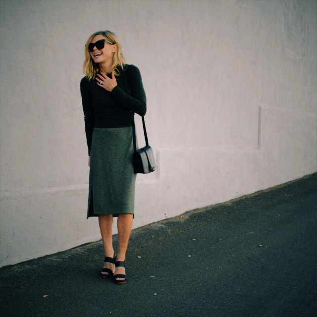 monochrome green outfit